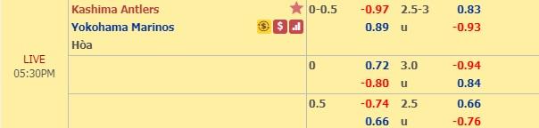 Thông tin tỷ lệ kèoKashima Antlers vs Yokohama Marinos