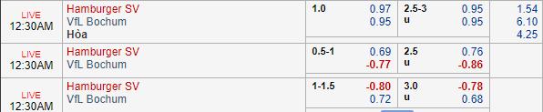 Thông tin tỷ lệ kèo Hamburg vs Bochum