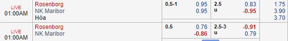 Thông tin tỷ lệ kèoRosenborg vs Maribor